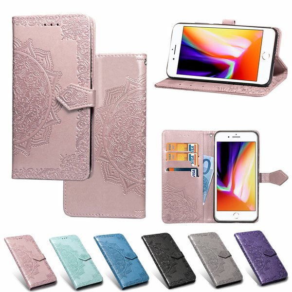Premium PU Leather 3D Embossed Mandala Pattern Wallet Case Magnetic Clasp Card Holders Flip Cover With Strap For iPhone 5 6 7 8 XR XS Max