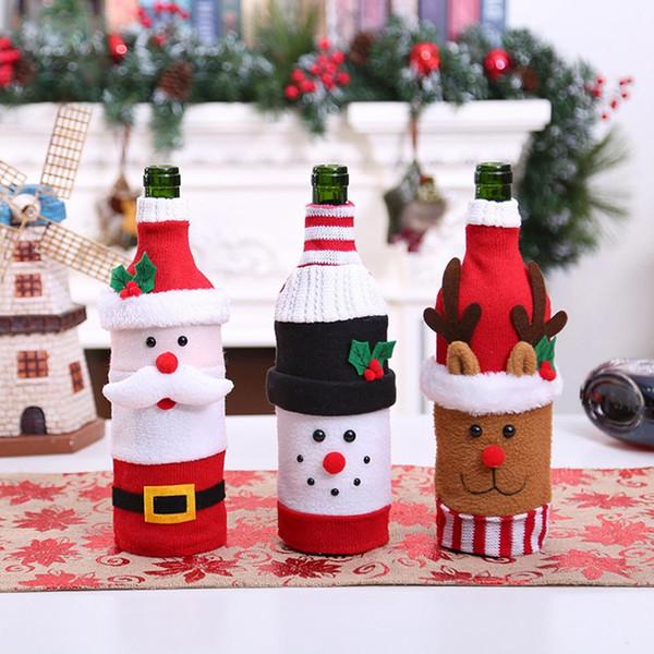 QIFU Санта-Клаус Крышка от Бутылки Вина Рождественские Украшения для Дома Рождественский Подарок Navidad Noel 2019 Настольный Декор С Новым Годом 2020