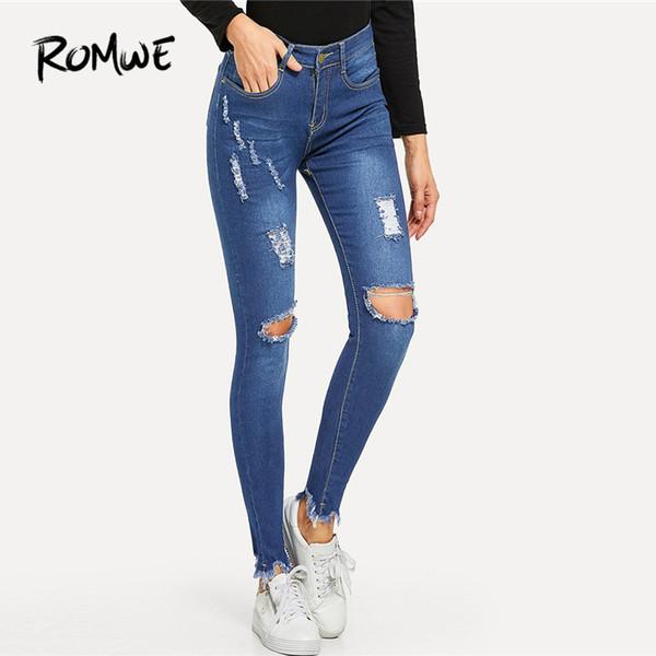 694b0d8dcbc Синие рваные колени узкие джинсовые джинсы женские повседневные весна-лето  обычная пуговица Fly брюки женские 2018 осень середины талии брюки