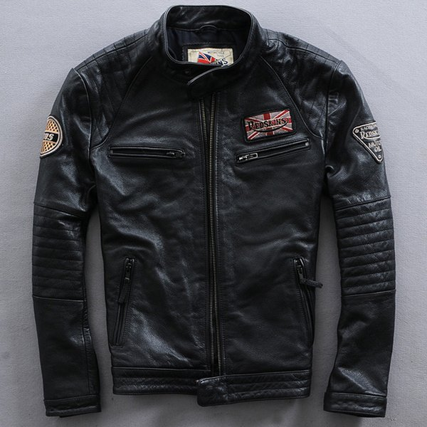 TOP 2016 Classic style Men Genuine Leather Motorcycle Jacket 100% Real Cowhide Riding Biker Jackets Winter Russia Coats