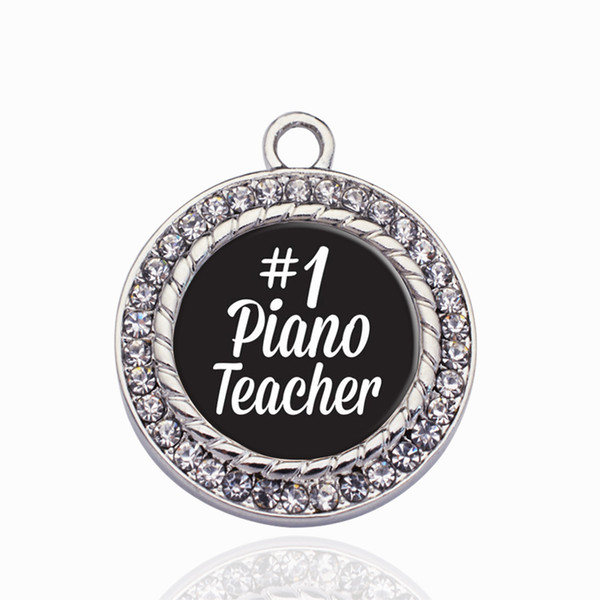 #1 Piano Teacher Circle Charm Copper Pendant For Necklace Bracelet Connector Women Gift Jewelry Accessories