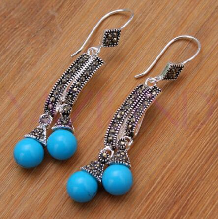 Round Blls Blue stone 925 Sterling Silver Hooks Errings Water drop gem Onxy stone 925 silver Fine Jewelry