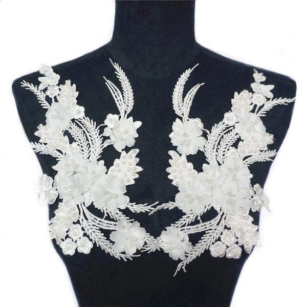 2 PCS Tecido Branco Flores Beads Tassel Strass Bordado Apliques de Rendas Guarnições De Malha Costurar Em Remendos Para O Vestido De Casamento Decoração DIY