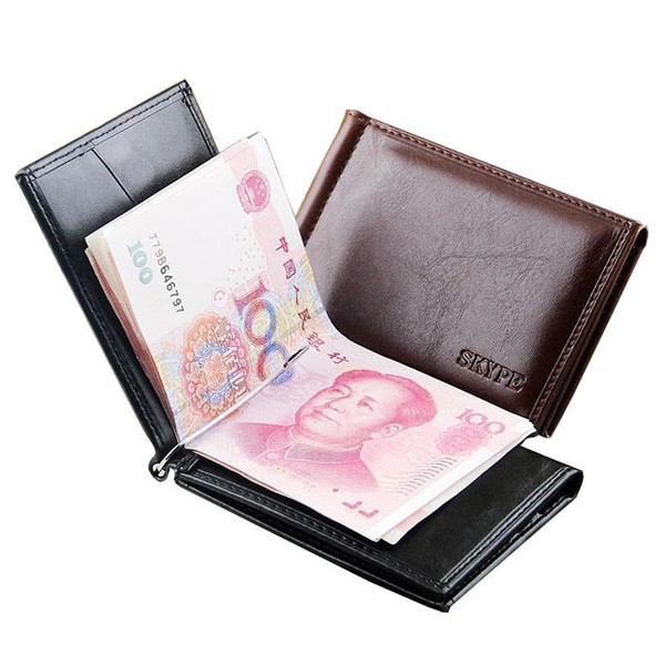 Hot Sale Business Portable Style Men money Clip Wallets With Metal Hasp Card Slots Black Brown Colors Slim Wallet Free Shipping #124741