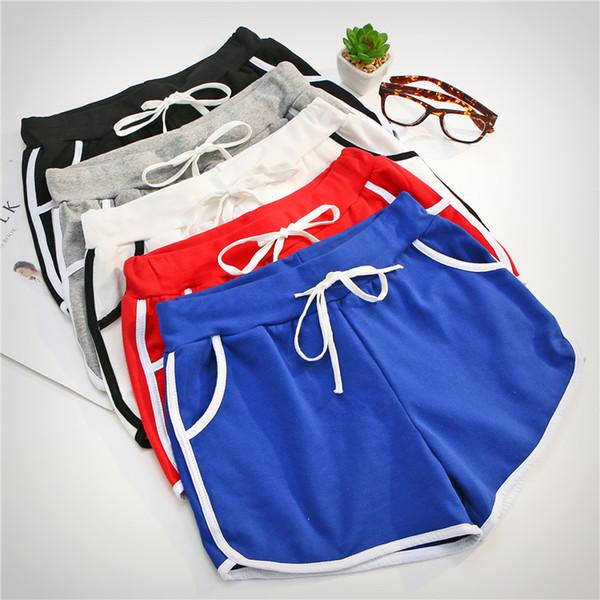 Été Style Coréen Femmes Vêtements Loisirs Élastique Taille Cordon Shorts Avec Poche Femme Casual Court Feminino Fitness
