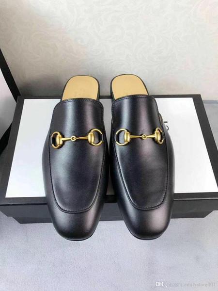 pantofole del progettista per gli uomini scarpe mocassini Luce Horsebit in pelle estate pantofola calzature spiaggia simbolica gold-tone Princetown ricamati