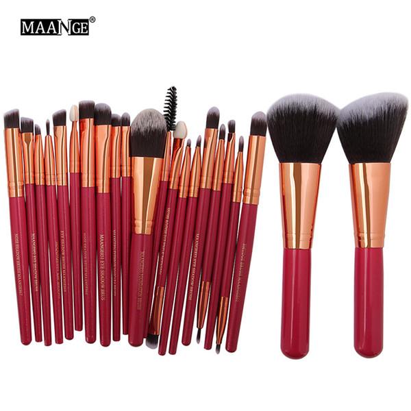 MAANGE Professional 22pcs Set di pennelli per trucco cosmetico Fard Ombretto in polvere Fondotinta per sopracciglia Kit per trucco per labbra + B