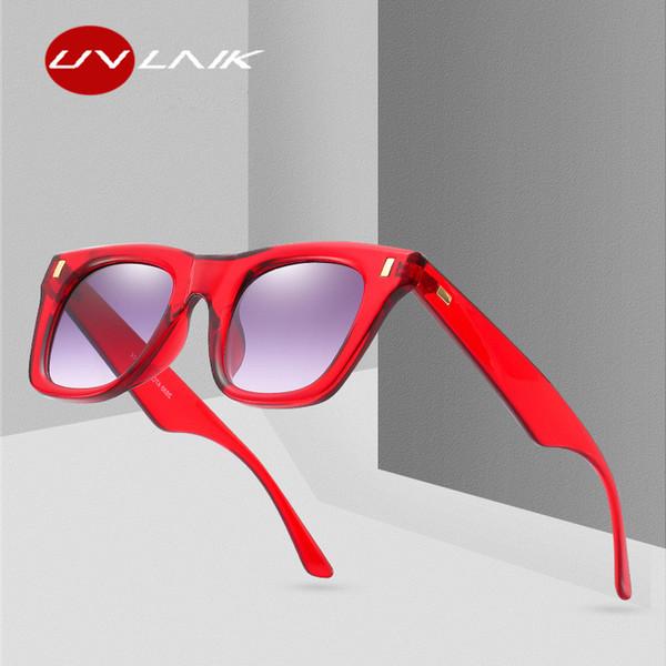 UVLAIK Classic Sunglasses Women 2019 Retro Rivet Shades Brand Designer Sun Glasses Men UV400 Leopard Red Sunglass Male Female