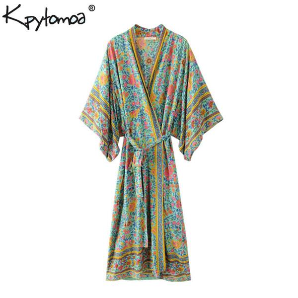 Boho Chic Summer 빈티지 꽃 프린트 기모금 기모노 셔츠 2019 패션 의류 카디건 루스 비치 블라우스 Femme Blusas Y19042902