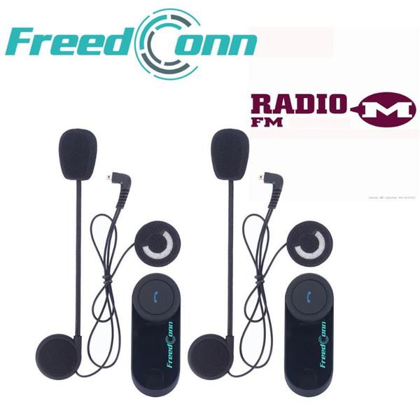 2pcs FreedConn Original T-COM VB Motorcycle BT Bluetooth Helmet Intercom Multi Interphone Headset with FM Radio Soft/Hard Mic