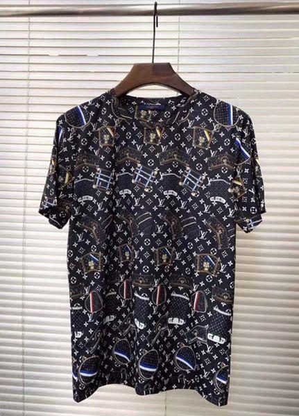 Европейский приток европейских товаров бренд прилива летом новый с короткими рукавами мужской моды с принтом хлопок Тонкая футболка рубашка дна