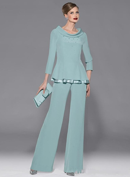 Zarif anne Takım Elbise Boncuklu Anne Gelin Pant Suits iki Adet Artı Boyutu Resmi Damat anne Elbise Giymek