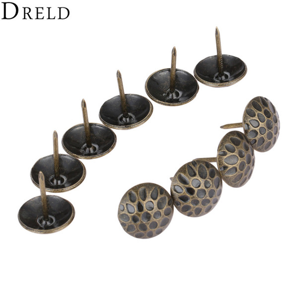 Cheap Tacks DRELD 10pcs 19 * 20 millimetri di rivestimento dei monili del chiodo tachas Gift Box Sofa decorativi mobili Chiodi Chiodini Stud Pushpin Antique Hardware