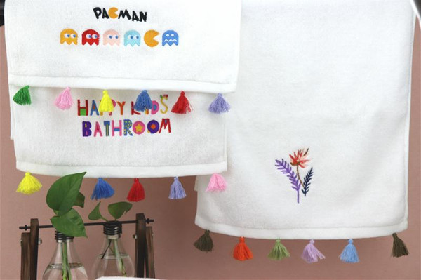 Luxury bath towels designer colored tassel decoration embroidery towel and bath towel 2-piece set high quality cotton material