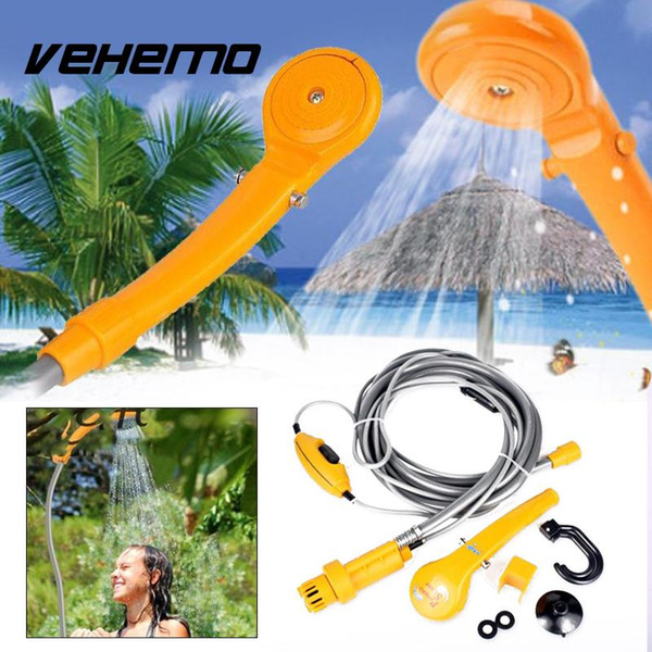 Vehemo 12V Car Electric Portable Outdoor Camping Travel Shower With Water Pipe High Quality Cleaning Tool For Car Garden Home
