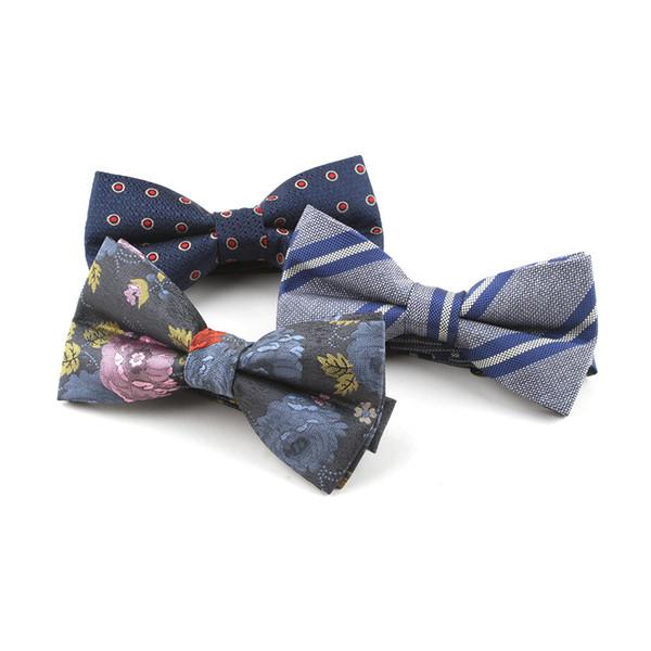 jacquard professionale vestito di farfalla del legame di arco all'ingrosso macchia tinto in filo camicia di vestito da affari poliestere Bow Tie Uomo