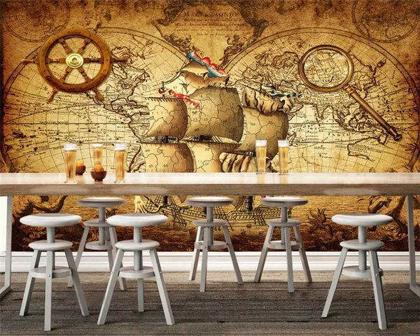 Custom Fashion 3d Wallpaper Nostalgic Retro Nautical Wheeled Boat Three Dimensional Background Wall Papers Home Decor Download Wallpapers Easter