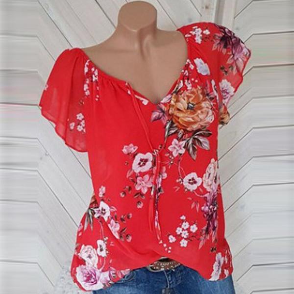 Casual Yaz Şifon Moda Bayan Kısa Kollu Çiçek Baskı Yaz Tee Casual Bluz S-5XL Gömlek Tops Bluz Tops Artı Boyutu