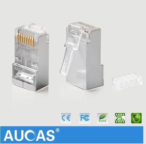 AUCAS 10pcs/lot RJ45 Modular Plug Network Connector For UTP Cat6 Solid Cable Heads 8P8C metal-shielded Terminals Professional Drop Shipping