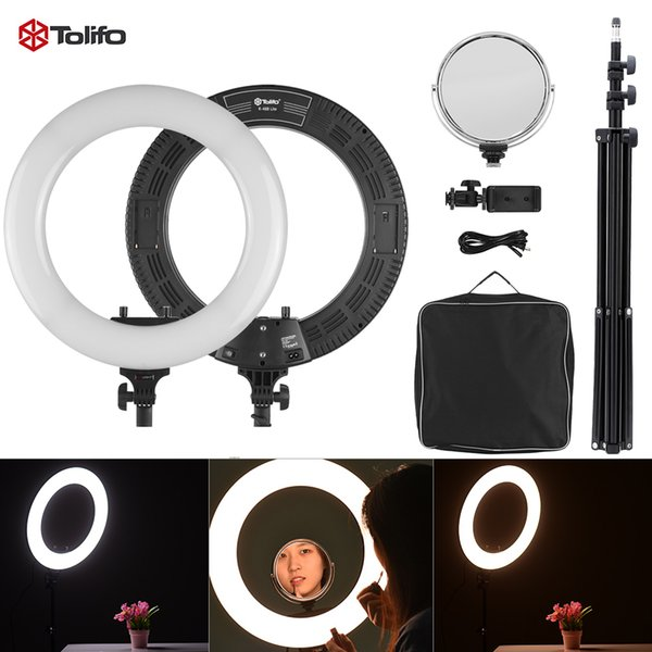 "Tolifo R-48B Lite 48W 3200-5600K 18"" LED Video Ring Light Studio Photography Lamp with Light Stand Make-up Mirror Phone Holder"