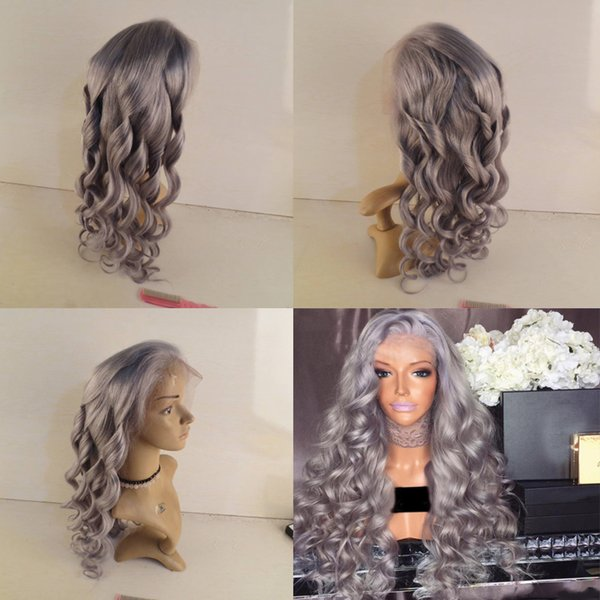 Grey Human Hair Wig For Women Body Wave Virgin Peruvian Silver Grey Full Lace Wig Glueless Human Hair Wigs