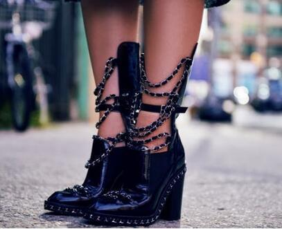 Punk Style Black Patent Leather Silver Chain Ankle Boots Ankle Boots For Women Chunky High Heel Ridding High Quality