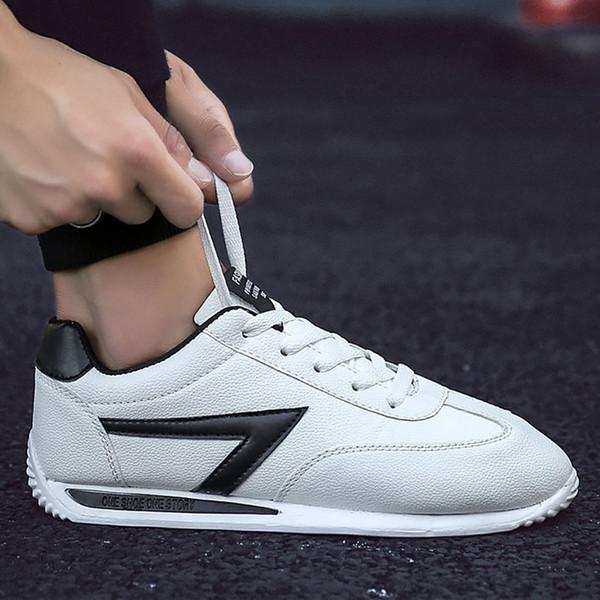 2020 printemps nouvelle arrivée haute chaussures en cuir blanc quelity garçons occasionnels chaussures de sport hommes chaussures plates école baskets comforthable