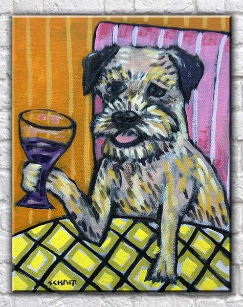 Hayvanlar Sanat Sınır Terrier Köpek Şarap, yağlıboya Üreme Yüksek Kaliteli Giclee Baskı Tuval Modern Ev Sanat Dekor