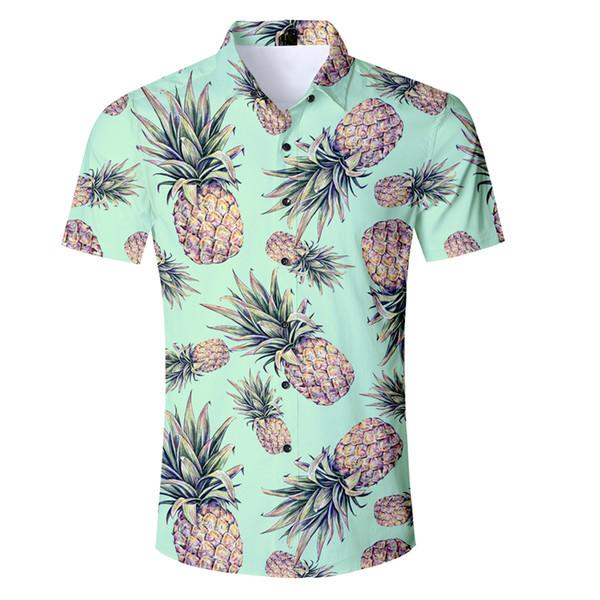 3b37cf6b1291 Compre Moda De Verano Camisa Hawaiana Informal Ropa De Marca Para Hombre  Camisas De Piña De Manga Corta Tops De Gran Tamaño Nueva Llegada Chemise A  ...