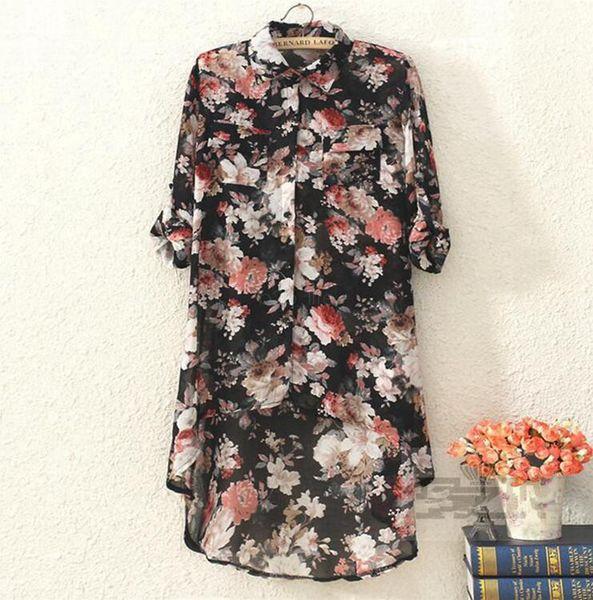 Floral Chiffon Blusa Vestido de Mulher Primavera Verão Tops Senhoras Casual Low-high Design chiffon Camisas Longas para as mulheres LJJA2476
