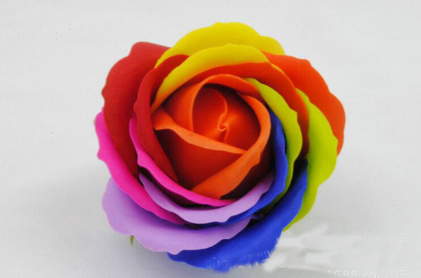 Rainbow 5 Colorful Rose Soaps Flower Packed Wedding Supplies Gifts Event Party Goods Favor Toilet Soap Scented Bathroom Accessories