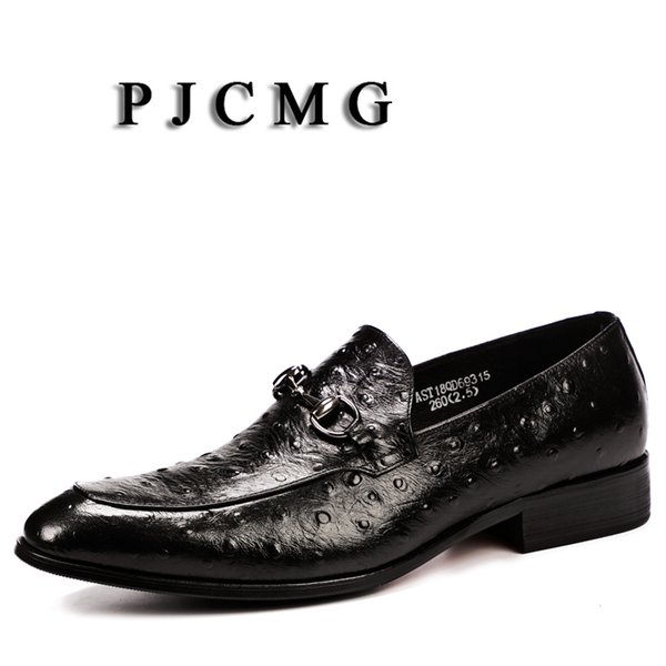 PJCMG Moda Siyah / Kırmızı Slip-On Sivri Burun Hakiki Deri İş Devekuşu Tarzı Resmi Rahat Elbise Oxfords Adam Için Ayakkabı