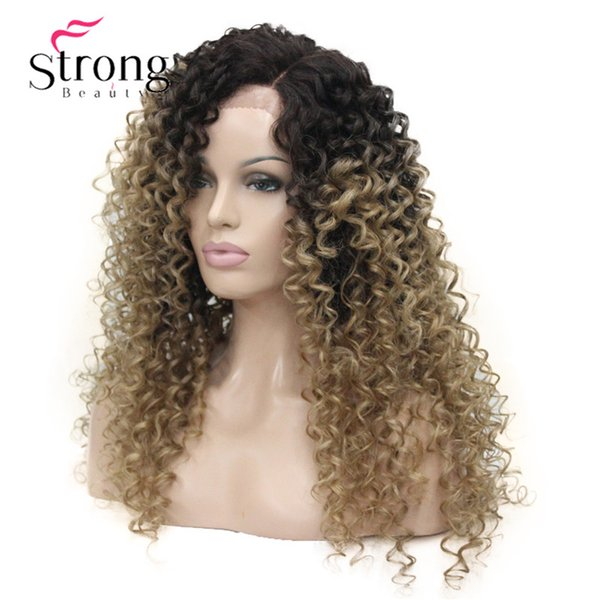 Long Heat Resistant Blonde Ombre Kinky Curly Lace Front Long Wig