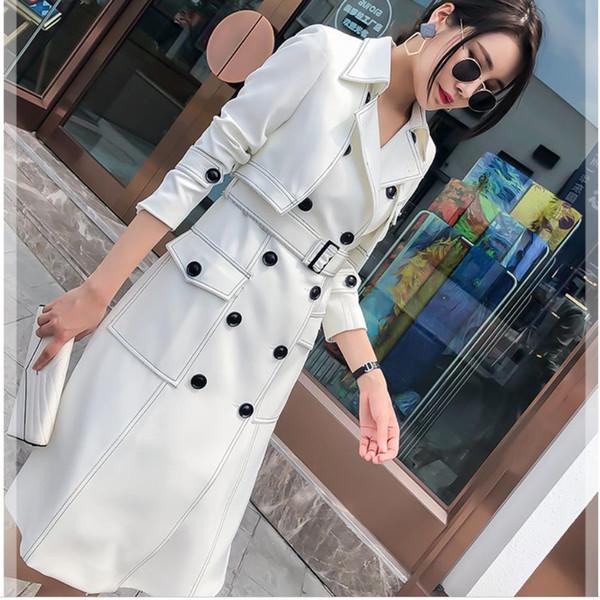 2019 neue Vintage Zweireiher weißen Trenchcoat für Frauen Schärpen schlanke lange Graben weiblichen Winter Büro festes Kleid