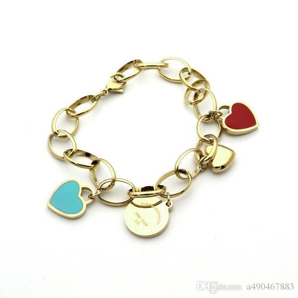 USpecial nova alta qualidade de aço de titânio pulseira grossa de ouro 18k rosa de prata pulseira de coração duplo pulseira de coração para presentes casal