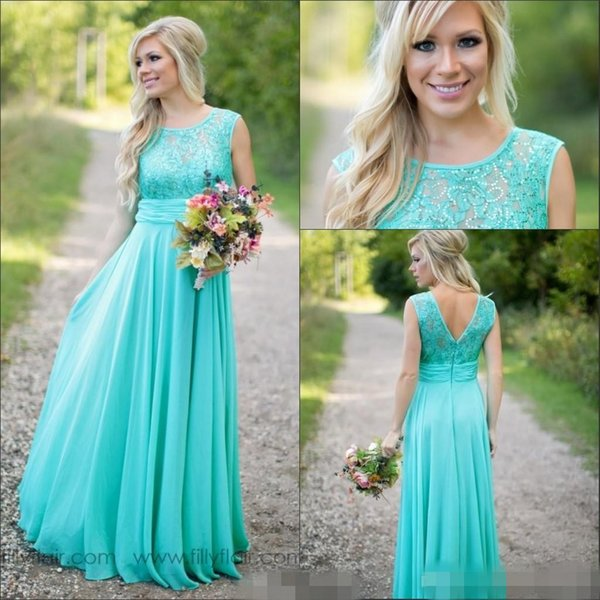 top popular 2019 New Teal Country Bridesmaid Dresses Scoop A Line Chiffon Lace V Backless Long Cheap Bridesmaids Dresses for Wedding 2019