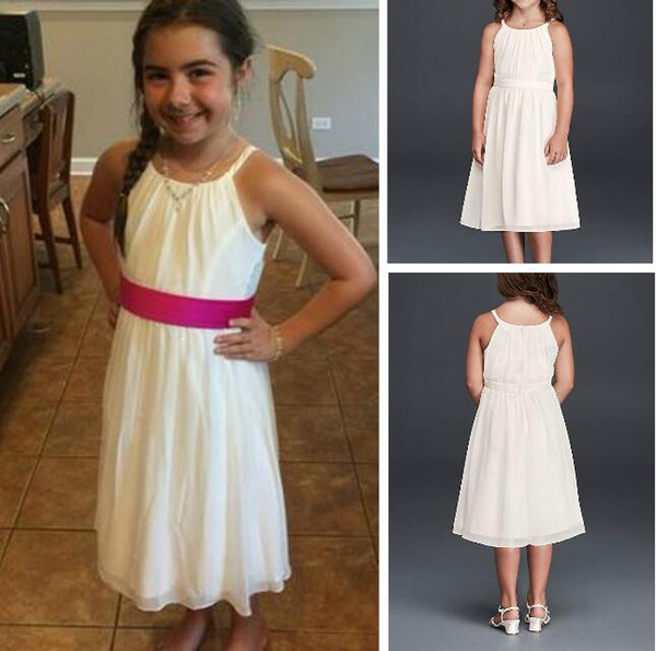 Simple Junior Formal Dresses A-line Spaghetti Strap Chiffon Tea Length Dress Girls Dress Bridesmaid Dress