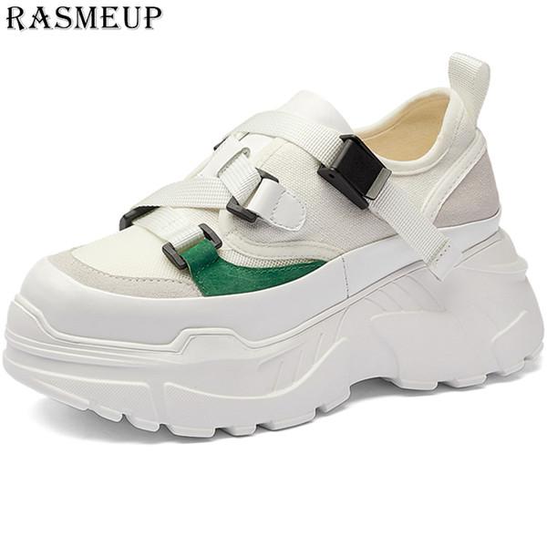 RASMEUP Genuine Leather Canvas Women Chunky Dad Sneakers 2019 Fashion Summer High Platform Women's Shoes  Lady Footwear