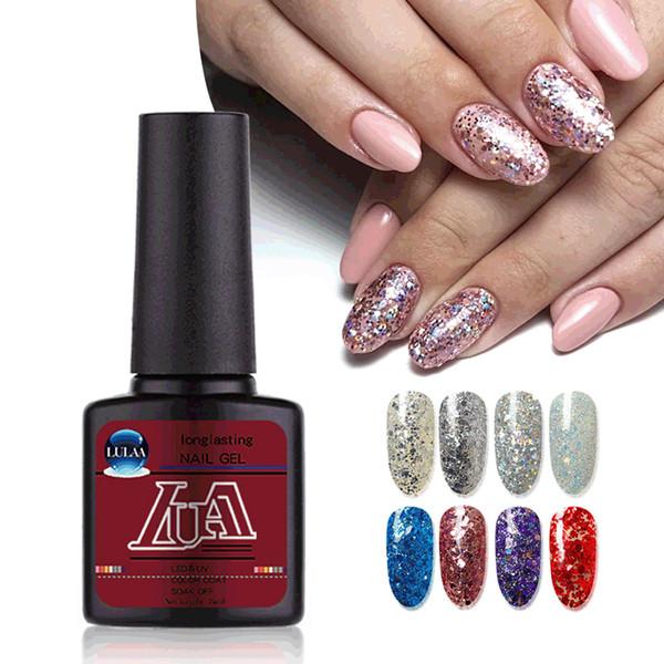 Mode Brillant Brillant Gel Vernis à ongles Gel Nails 8ML Tremper Brillant Paillettes UV arc-en-Laser Vernis Glitter Art Cosmetics Beauté