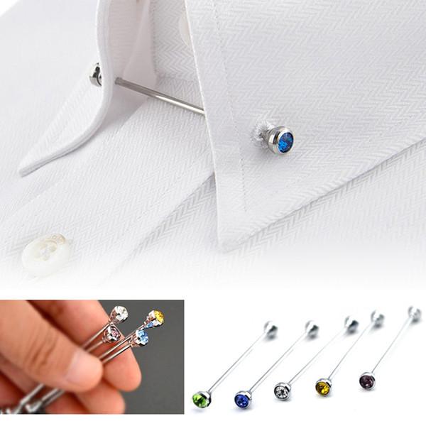 Cristal De Mode Strass Broches Broches Pour Hommes Costume Chemise Cravate Col Pin Corsage Revers Longues Broches Bijoux Cadeau