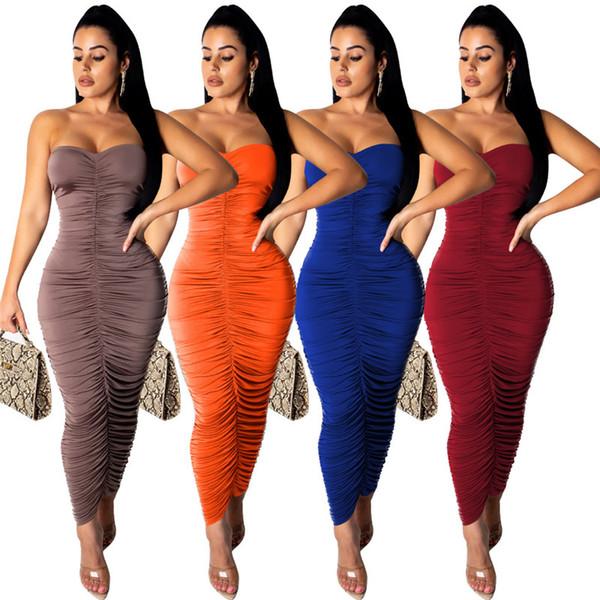 Les femmes décontractées robes bodycon sexy sans manches hors épaule couleur unie froncé plis sexy club vêtements à la cheville longueur été 796