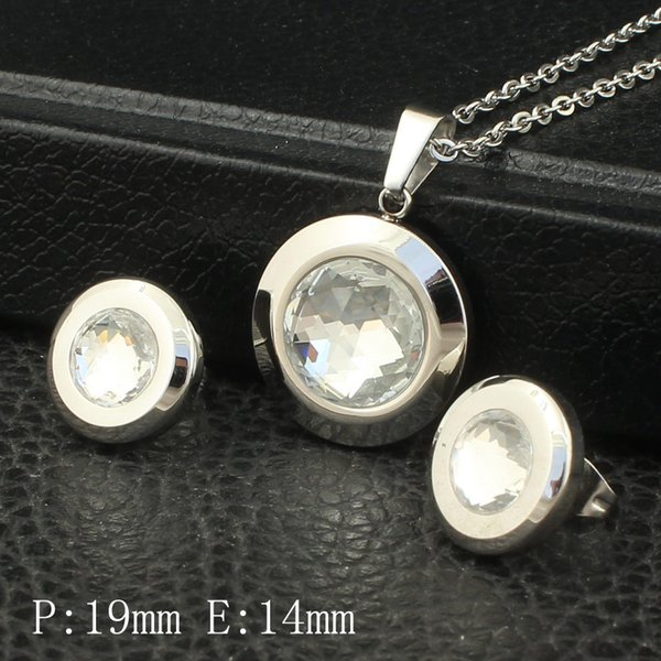 Round Fashion Pattern Stainless Steel Jewelry Silver Color pendant Necklace and earring sets For Women Wholesale SBJZBEBE