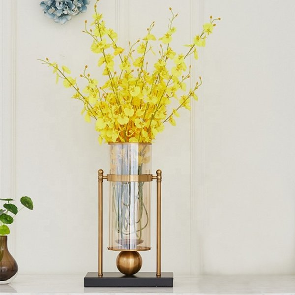 4 pcs Crystal Wedding Party Table Centrepiece Gold cylinder glass New Classical Flower Vase Home Decoration