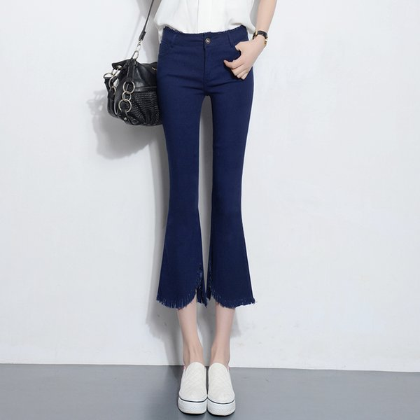 EAD Black Blue Elegant Flare Pants High Waist Elastic Bodycon Women Ankle Length Work Pants Summer Tassel Female Skinny Trousers