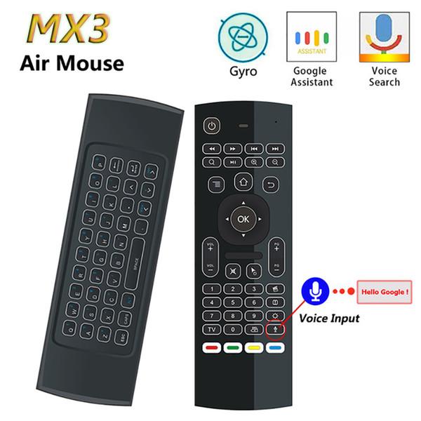Mx3 Air Mouse T3 Google Ir Control de voz inteligente 2.4g Rf Teclado inalámbrico para Android Linux Mac Os Gyro Remote J190523