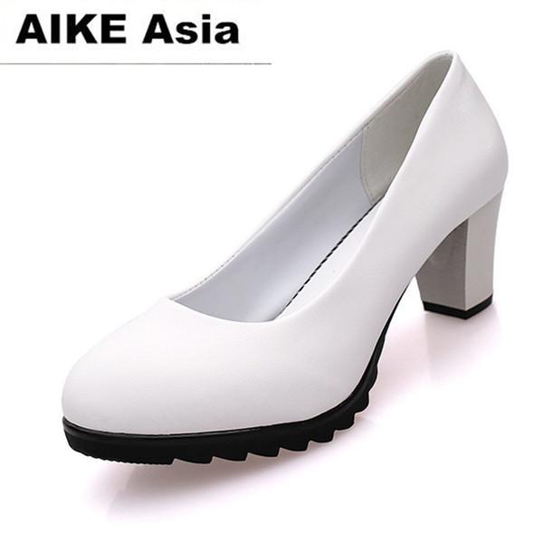 Designer Dress Shoes EXHORT MICE 2019 Women Pumps Round Toe Solid Thick high Heel Lolita Party Platform tenis feminino Square heel