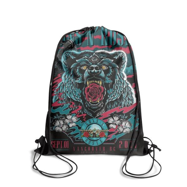Sports backpack Guns N' Roses on Twitter bear cool vintage personalizedpackage convenient yoga backpack athletic Travel Beach pull string Ba