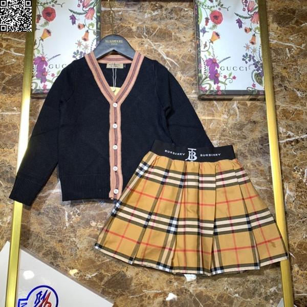 Ensemble de vêtements de marque pour enfants tricoté de cardigan tricoté jupe deux morceaux de laine tricotée pur coton deux couleurs