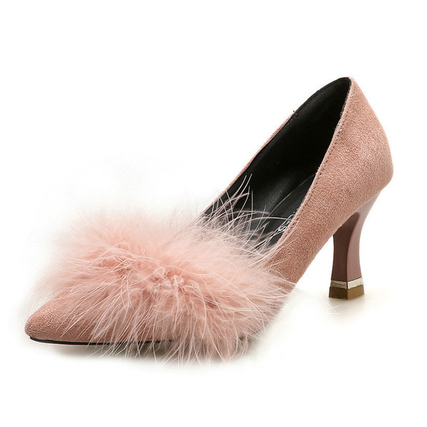 Dress Shoes Size 34-39 2019 New Autumn Women 's Pumps High Heels Sweet Big Fur Woman Comforable Female Luxurious Pink Grey Footwear