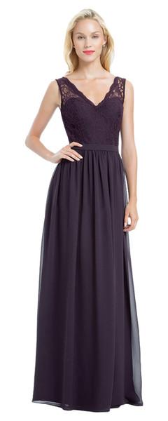 Beauty Grape Chiffon Lace V-Neck Junior Bridesmaid Dresses Bridesmaid Wedding Dresses Party Prom Dresses Custom Size 2-18 KF101428